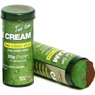 2x bruine/groene camouflage verkleed schmink stiften