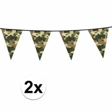 2x camouflage vlaggenlijnen 6 meter