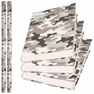 2x rollen kadopapier / schoolboeken kaftpapier camouflage grijs 200 x 70 cm