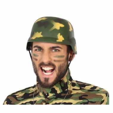 2x stuks soldaten verkleed helm camouflage voor volwassenen