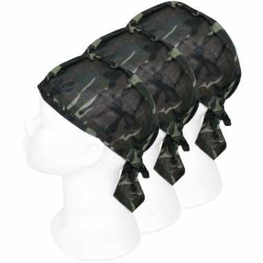 3x bandanas leger camouflageprint voor kinderen/volwassenen