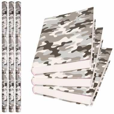 3x rollen kadopapier / schoolboeken kaftpapier camouflage grijs 200 x 70 cm