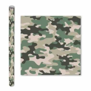 3x rollen kadopapier schoolboeken kaftpapier camouflage groen 200 x 70 cm
