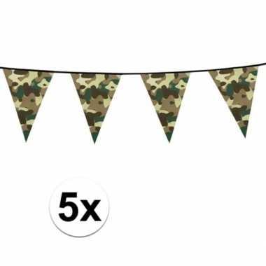 5x camouflage vlaggenlijnen 6 meter