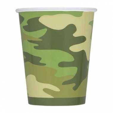 Camouflage bekertjes 8 stuks