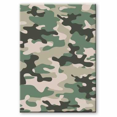 Camouflage/legerprint luxe schrift/notitieboek groen gelinieerd a4 formaat