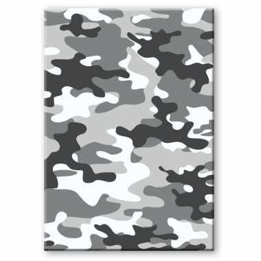 Camouflage/legerprint luxe wiskunde schrift/notitieboek grijs ruitjes 10 mm a4 formaat