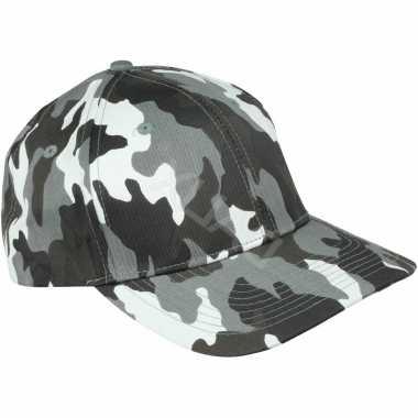 Camouflage pet voor volwassenen grijs one size