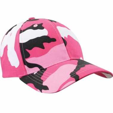 Camouflage pet voor volwassenen roze one size