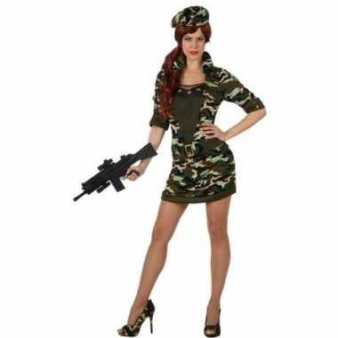 Camouflage soldaat verkleed kostuum/jurk voor dames