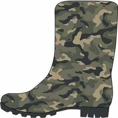 Groene kleuter/kinder regenlaarzen camouflage/leger print