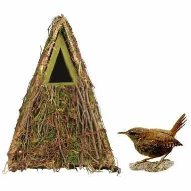 Houten vogelhuisje/nestkastje groene camouflage 24 cm