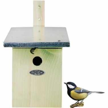 Houten vogelhuisje/nestkastje koolmees 33 cm