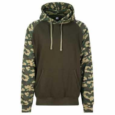 Just hoods capuchon sweater camouflage/green voor heren