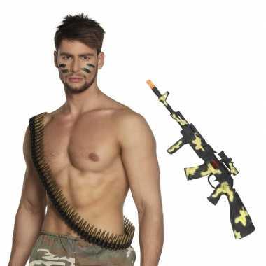 Leger verkleed accessoires kogelriem en geweer