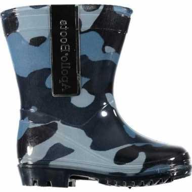 Legerprint regenlaarzen voor peuters blauw maat 26