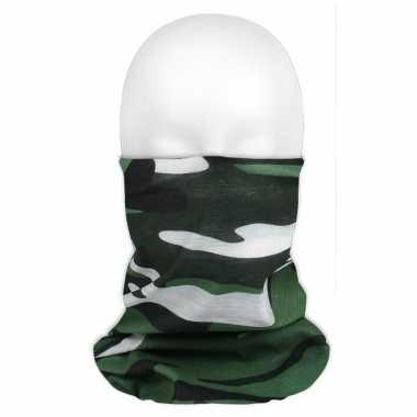 Multifunctionele morf sjaal camouflage groen voor volwassen