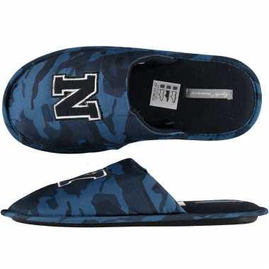 Navy blauwe camouflage instap pantoffels/sloffen voor heren