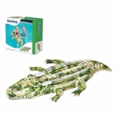 Opblaasbare krokodil met camouflageprint 175cm ride on speelgoed