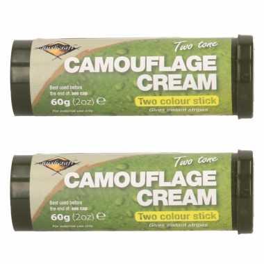 Pakket van 3x stuks bruine/groene camouflage creme/stift 60 gram