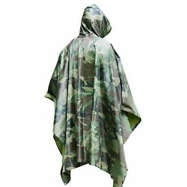Pakket van 4x stuks herbruikbare camouflage regenponchos voor volwassenen one size