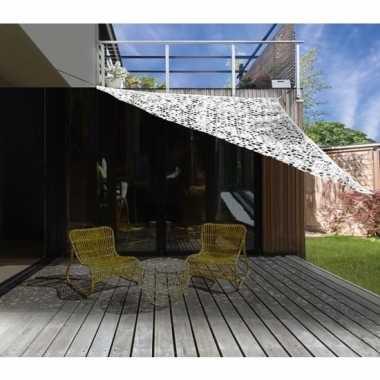 Schaduwdoek/zonnescherm driehoek wit camouflage 3,6 meter