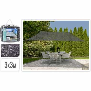 Schaduwdoek/zonnescherm vierkant antraciet camouflage 3 x 3 meter