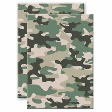 Set van 2x stuks camouflage/legerprint wiskunde schrift/notitieboek groen ruitjes 10 mm a4 formaat