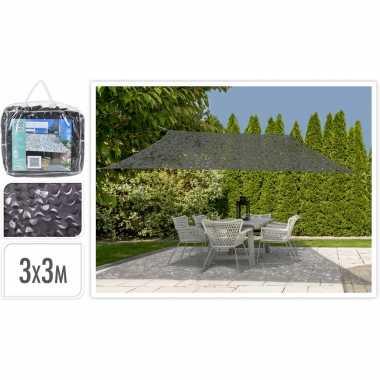 Set van 2x stuks schaduwdoeken/zonneschermen vierkant antraciet camouflage 3 x 3 meter