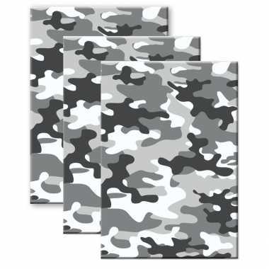 Set van 3x stuks camouflage/legerprint wiskunde schrift/notitieboek grijs ruitjes 10 mm a4 formaat