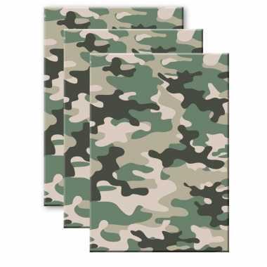 Set van 3x stuks camouflage/legerprint wiskunde schrift/notitieboek groen ruitjes 10 mm a4 formaat