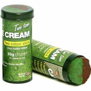 Speelgoed bruine/groene camouflage schmink stift voor kinderen