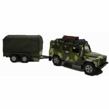 Speelgoed leger auto landrover met aanhanger