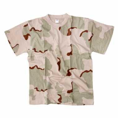 T-shirt korte mouw desert camouflage print