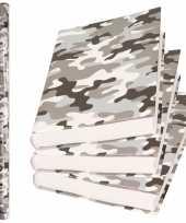2x rollen kadopapier schoolboeken kaftpapier camouflage grijs 200 x 70 cm