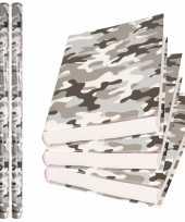 3x rollen kadopapier schoolboeken kaftpapier camouflage grijs 200 x 70 cm