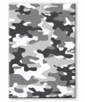 Camouflage legerprint luxe schrift notitieboek grijs gelinieerd a5 formaat