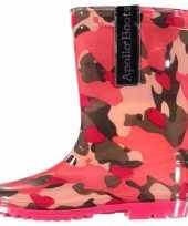 Meisjes regenlaarsjes roze camouflage