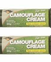 Pakket van 3x stuks bruine groene camouflage creme stift 60 gram