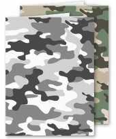 Set van 10x stuks a4 schoolschriften ruit 10 mm camouflage grijs en groen