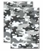 Set van 2x stuks camouflage legerprint wiskunde schrift notitieboek grijs ruitjes 10 mm a4 formaat