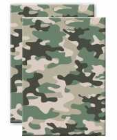Set van 2x stuks camouflage legerprint wiskunde schrift notitieboek groen ruitjes 10 mm a4 formaat