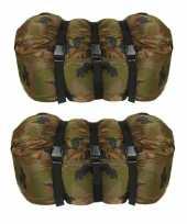 Set van 2x stuks warme 1 persoons mummie slaapzakken met camouflage print 210 x 80 cm