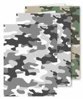 Set van 3x stuks a5 schoolschriften gelinieerd camouflage grijs en groen