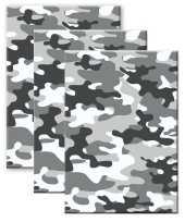 Set van 3x stuks camouflage legerprint wiskunde schrift notitieboek grijs ruitjes 10 mm a4 formaat