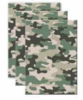 Set van 3x stuks camouflage legerprint wiskunde schrift notitieboek groen ruitjes 10 mm a4 formaat