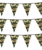 Set van 4x stuks camouflage vlaggenlijnen 6 meter army thema