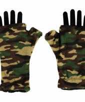 Vingerloze handschoenen camouflage print voor volwassenen